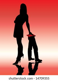 beautiful girl standing and incumbent on  males legs illustration