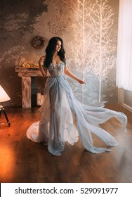 Beautiful girl standing in the room. She dressed luxury gray dress. Wind waves her skirt. The photo fills the Christmas spirit. Creative colors
