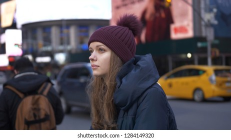 Beautiful girl in the streets of New York city