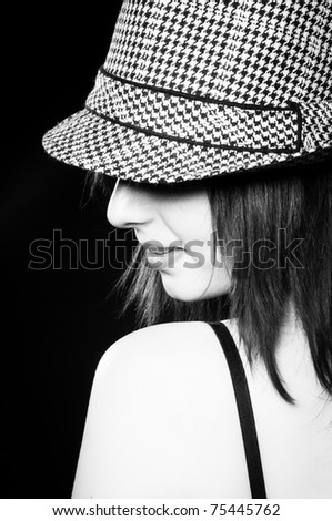 Beautiful Girl Stylish Hat Black White Stock Photo (Edit Now ... 92151ff75307