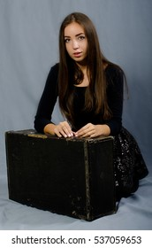 beautiful girl with suitcase