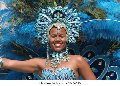 Beautiful girl in a summer carnaval parade (Rotterdam, Netherlands, 2006)