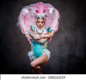 Beautiful girl in a sumptuous carnival feather suit.
