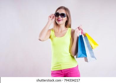 beautiful girl sunglasses, shopping bags, summer