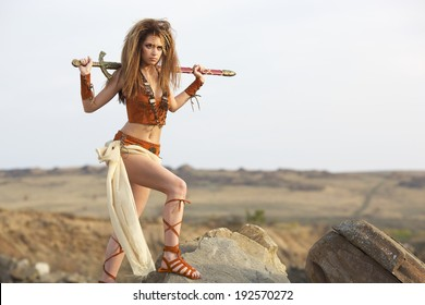 The beautiful girl with a sword in a suit of the amazon costs on a stone height