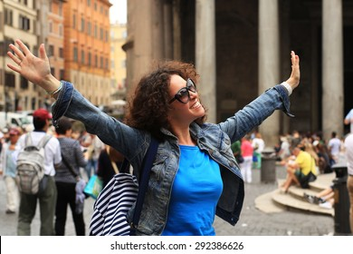 Beautiful girl tourist in Rome, vacation in Italy