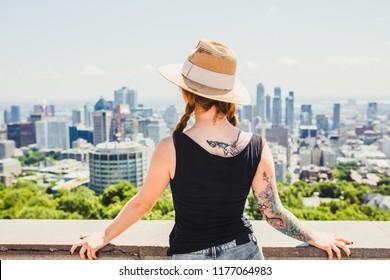 Beautiful girl traveling in Montreal