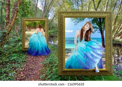 Beautiful girl traveling through the magical portal - fantasy tale