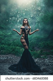 A beautiful girl in an unusual black, sexy dress . Wild Princess , vampire, creative color, dark boho. Background dusk and forest covered with fog. Mystical, gothic atmosphere of witchcraft.