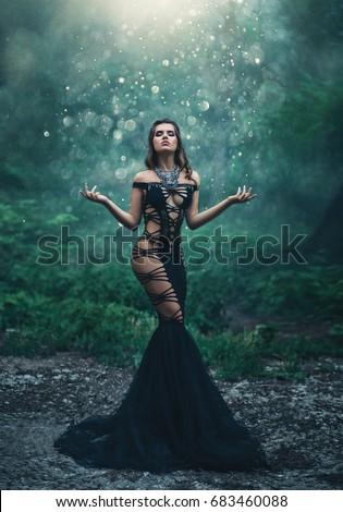 530622f0c Beautiful Girl Unusual Black Sexy Dress Stock Photo (Edit Now ...