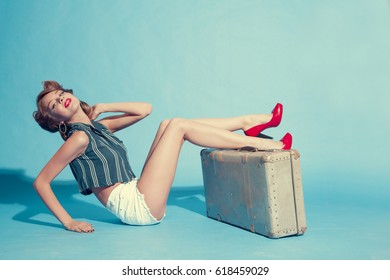 beautiful girl in vintage style in red shoes