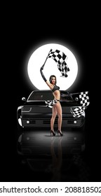 Beautiful girl waving racing flags in front of custom black car