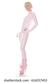 beautiful girl wearing bubble gum pink color costume catalog shoot
