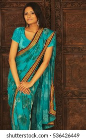 A beautiful girl wearing a saari