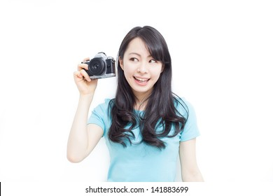 beautiful girl wearing taking photos isolated on white background