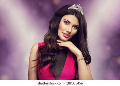 Beautiful girl wearing tiara