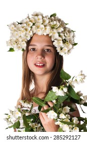 Beautiful girl wearing a wreath of jasmine isolated on white background