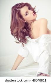 beautiful girl in white shirt