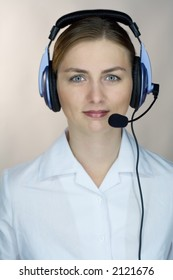 beautiful girl (woman) with headset