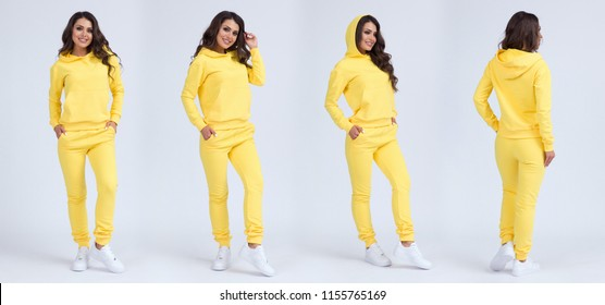 Beautiful girl in a yellow sports suit with a hood. Front view, side view, rear view. Sweatshirt template