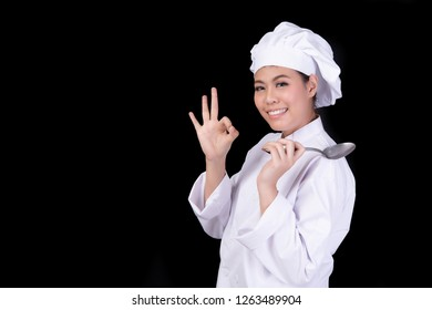 Beautiful Girls chef.Natural and meal concept. women asia on black background.