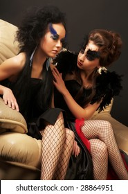 Beautiful girls with creative makeup