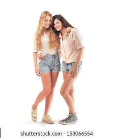 beautiful girls dressed in casual clothes