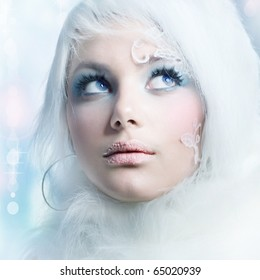 Beautiful Girl's Face.Creative Winter Makeup