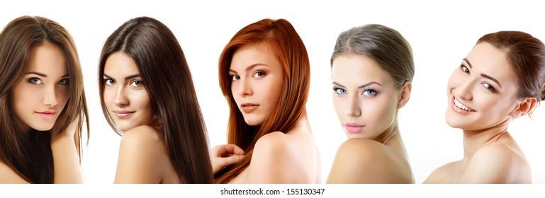 Beautiful girls, faces closeup over white