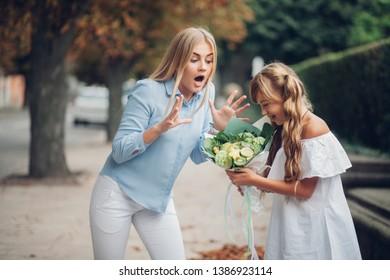beautiful girls fruit bouquet in hand