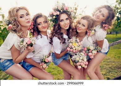 beautiful girls hen party with flowers