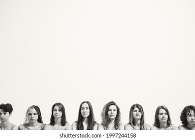 Beautiful girls with natural beauty. Heads of different women in the same frame. Place for your text. Black and white photo with a group of girls.