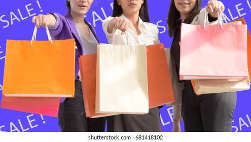 Beautiful girls are shopping.