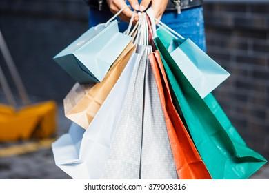 beautiful girls with shopping bags in ctiyTwo friends going shopping