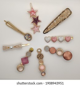beautiful girly set lot of colorful diamond pearl hair clips accessory for head