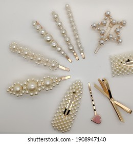 beautiful girly set lot of pearl embellished golden hair clip fashion head accessories