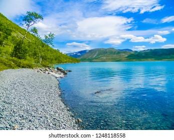 Beautiful Gjendesheim Lake in the Jotunheimen National Park, Norway