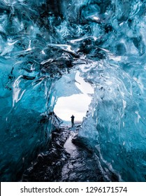 Beautiful glacier ice caves in Iceland