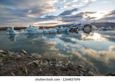 Beautiful glacier lagoon Jokulsarlon at sunset panorama, Iceland
