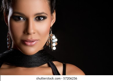 Beautiful glamorous latin woman closeup