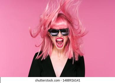 Beautiful glamorous woman pink hair charm party lips