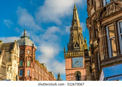Beautiful Glasgow architecture - impressive buildings in city center on a bright sunny day