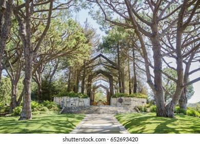The beautiful Glass Church - Wayfarers Chapel at Rancho Palos Verdes, California