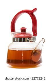 Beautiful glass teapot on a white background