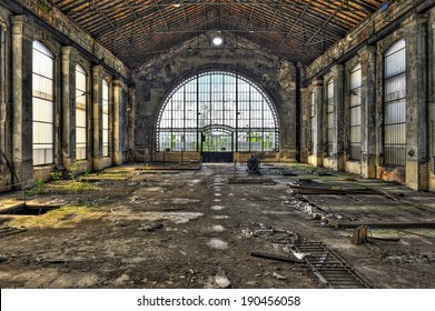 Beautiful glass wall inside the hall of an abandoned coal mine, hdr processing