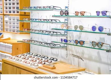beautiful glasses on the display shelf
