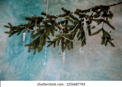 Beautiful glassy decorations on the new year`s tree