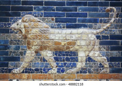 Beautiful glazed tiles symbolizing a lion in three dimensional shape from the gates of ancient Babylon. The Lion symbol of Babylon, and represents Ishtar, the goddess of fertility, love and war.