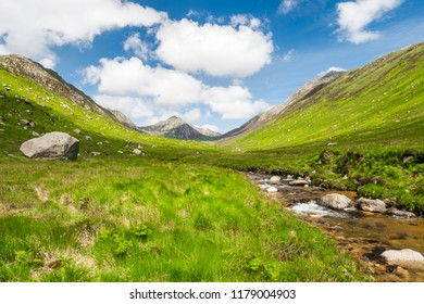 Beautiful Glen Rosa near Brodick on the Isle of Arran on the Scottish west coast as taken in spring of 2017