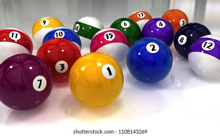 Beautiful glossy colorful billiard balls on a white background. Wallpaper. 3 D illustration.